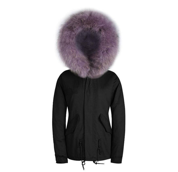Raccoon Fur Collar Parka Jacket with Lilac Fur 3/4 -  - 2