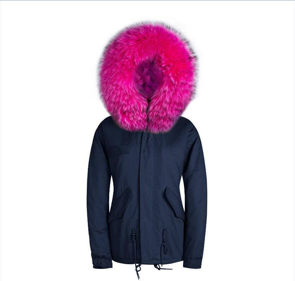 Raccoon Fur Collar Parka Jacket with Fuchsia Fur -  - 5