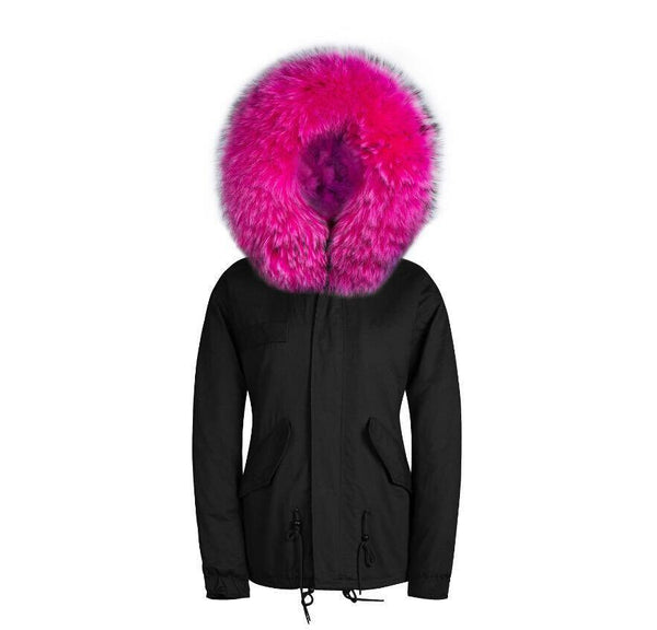 Raccoon Fur Collar Parka Jacket with Fuchsia Fur -  - 2