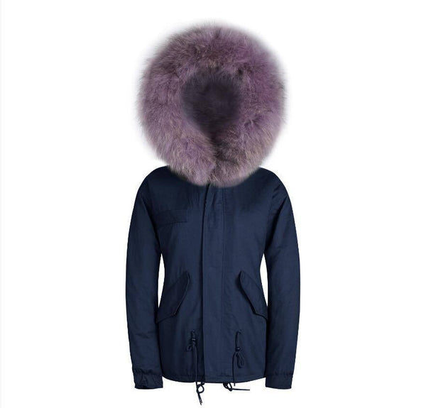 Raccoon Fur Collar Parka Jacket with Lilac Fur 3/4 -  - 1
