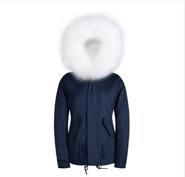 Raccoon Fur Collar Parka Jacket with White Fur -  - 5
