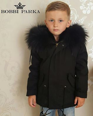 Kids Raccoon Fur Collar Parka Jacket with Black Fur -  - 1