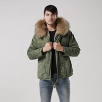 Mens Raccoon Fur Collar Parka Jacket with Natural Fur -  - 2
