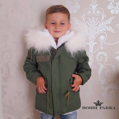 Kids Raccoon Fur Collar Parka Jacket with White Fur -  - 1