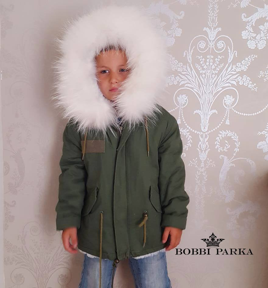 Kids Faux Fur Collar Parka Jacket with White Faux Fur -  - 1