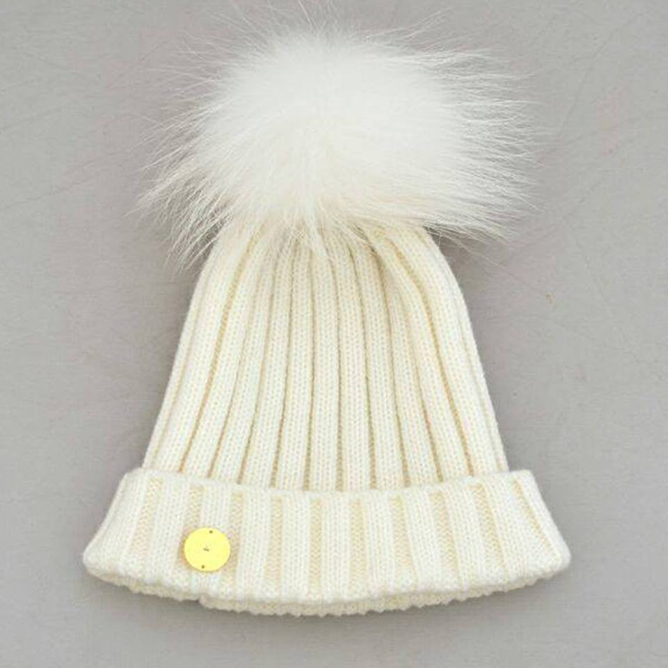 White Hat with White Pom Pom -  - 1