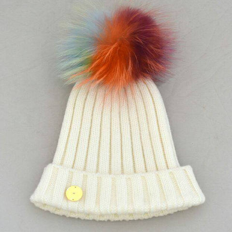 White Hat with Multi Pom Pom -