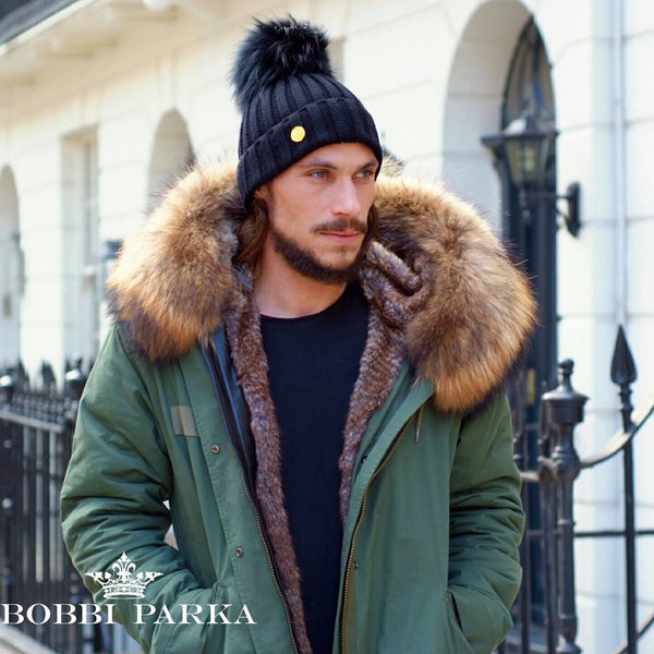 Mens Raccoon Fur Collar Parka Jacket with Natural Fur -  - 1