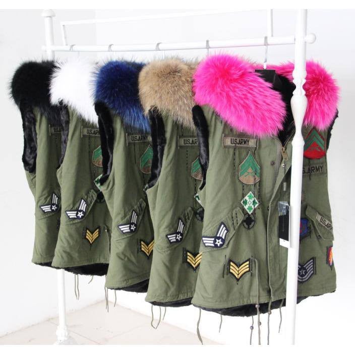 Parka Style Fur Gilet Army Style -  - 1