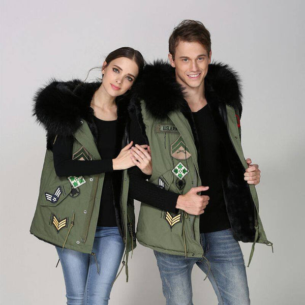 Parka Style Fur Gilet Army Style -  - 3