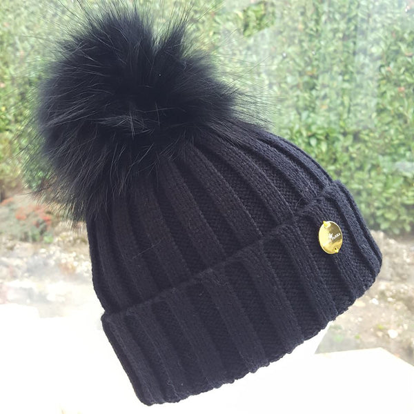Black Fur Pom Pom Hat
