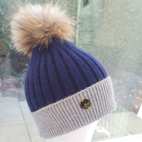 Cashmere Pom Pom Hat - Navy/Grey