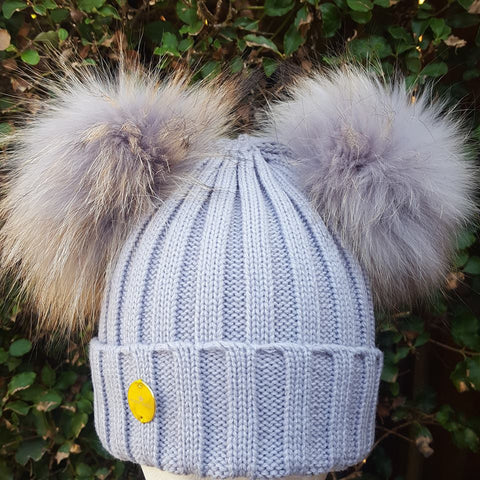 DOUBLE FUR POM POM HAT LIGHT GREY