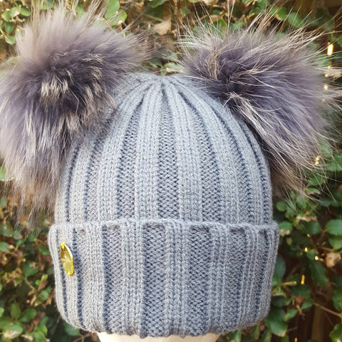 DOUBLE FUR POM POM HAT GREY