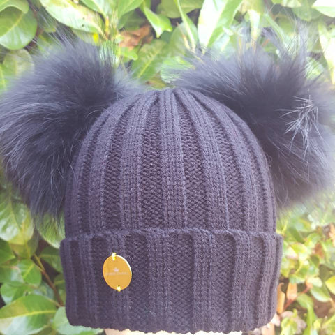 DOUBLE FUR POM POM HAT BLACK