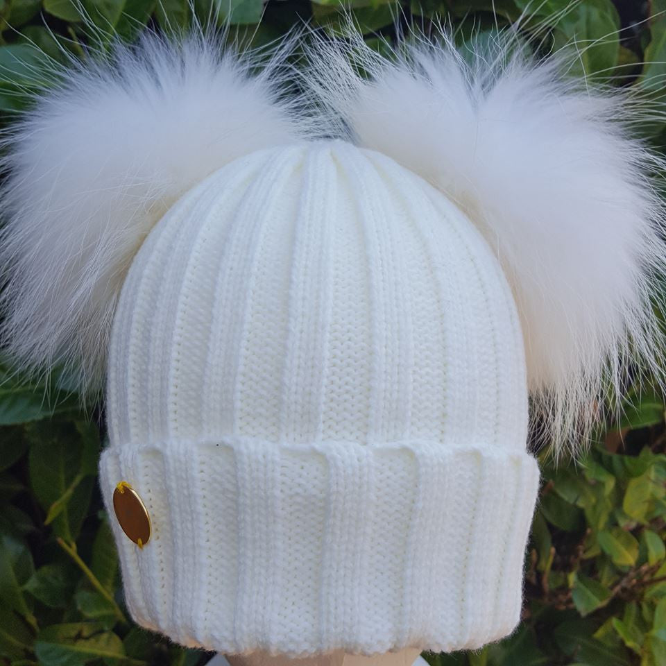 Double Fur Pom Pom Hat - Cream