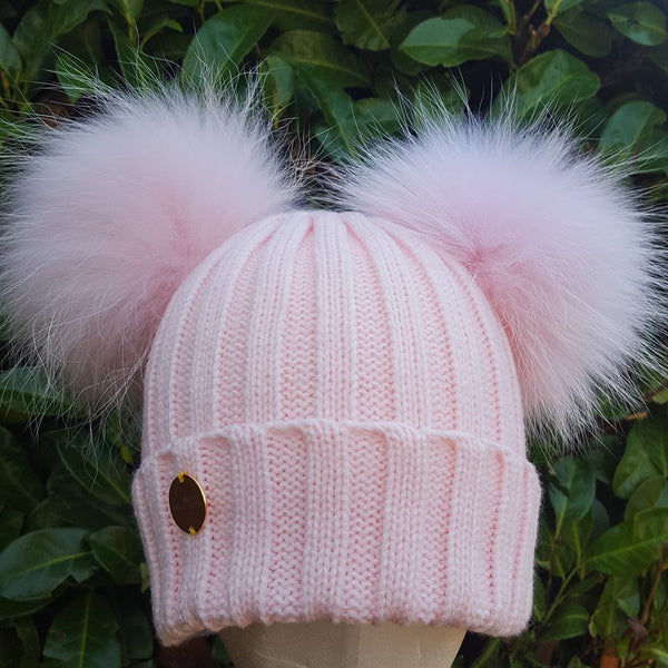 Double Fur Pom Pom Hat - Pink