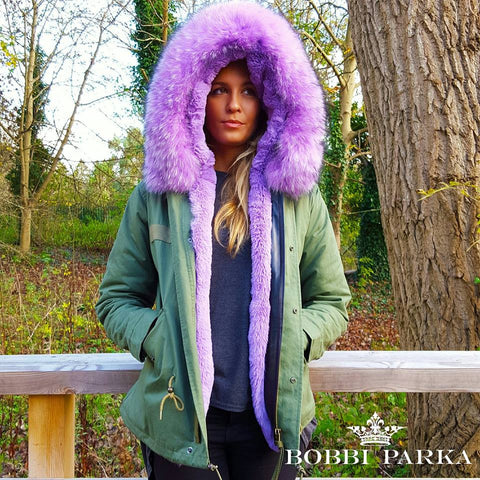 Ladies Luxury Collar Parka Jacket with Lilac Collar