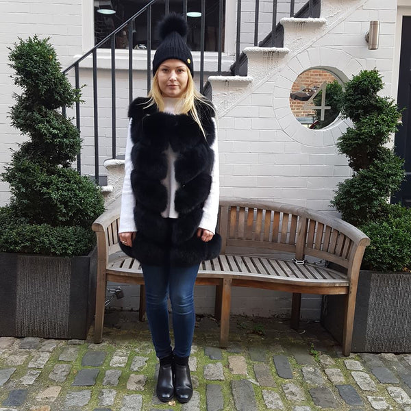 Full Fox Fur Vest / Gilet - Black