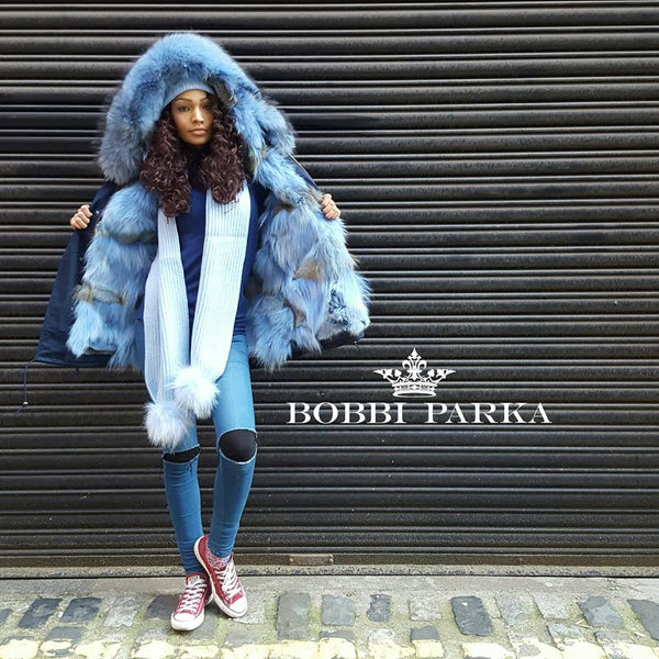 Full Fox Fur Reversible Jacket - Pastel Blue