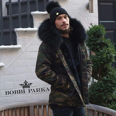 Mens Camo Fur Collar Parka Jacket with Black Fur