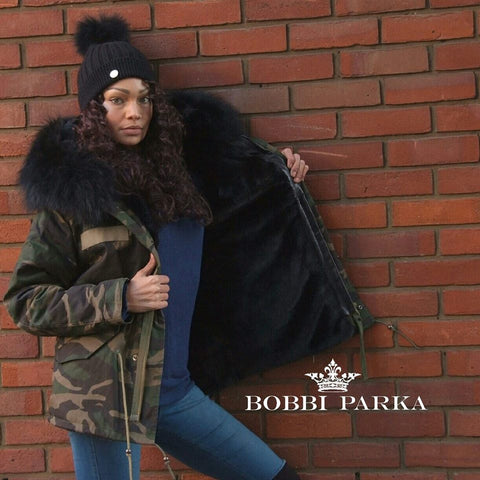 Ladies Camo Luxury Collar Parka Jacket in Black