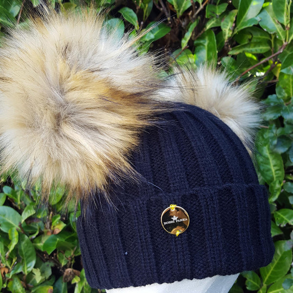 Faux Fur Double Pom Pom Hat - Black with Natural Pom Poms
