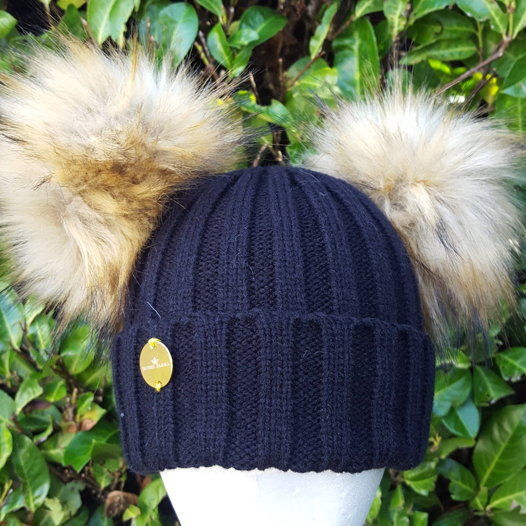 42d9eb7295e Faux Fur Double Pom Pom Hat - Black with Natural Pom Poms – Bobbi Parka