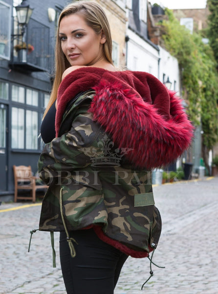 Ladies Real Look Camo Faux Fur Parka with Red Faux Fur