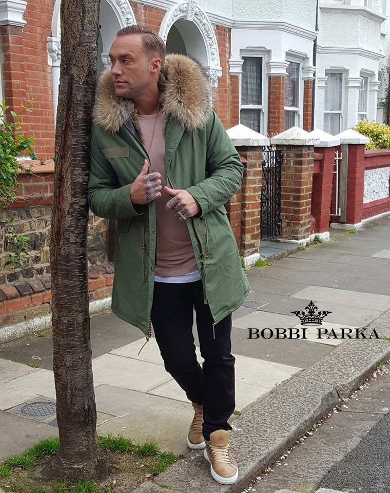 Calum Best Mens Faux Fur Collar Parka Jacket with Natural Faux Fur Lining 3/4