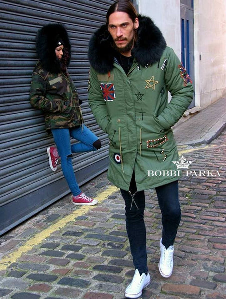 Calum Best Mens Embroidered Luxury Green Parka Jacket 3/4