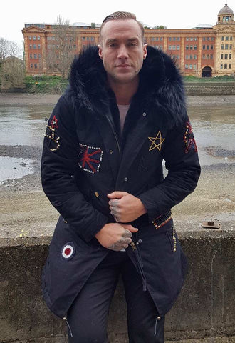 Calum Best Mens Embroidered Fur Collar Black Parka Jacket with Black Fur 3/4