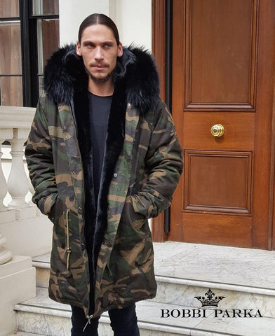 Mens Camo Fur Collar Parka Jacket with Real Fur 3/4
