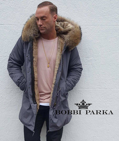 eeb84c9da8b Calum Best Mens Faux Fur Collar Grey Parka with Natural Faux Fur Lining 3 4