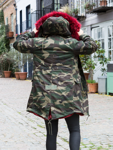Ladies Luxury Collar Parka Jacket Camo in Red 3/4