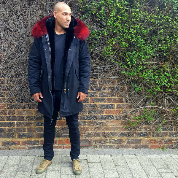 Mens Fur Collar Parka Jacket with Red Fur 3/4