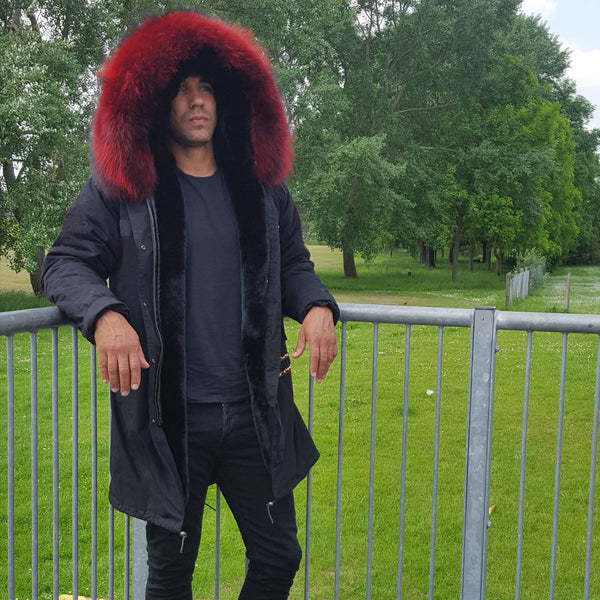 Mens Luxury Parka Jacket with Red Collar 3/4