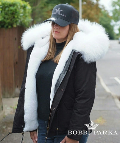 Faux Fur Collar Parka Jacket with White Faux Fur
