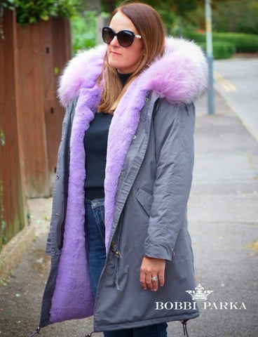 Ladies Luxury Grey Parka with Lilac Lining 3/4