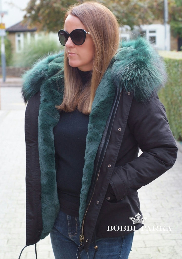 Ladies Fur Collar Parka Jacket with Green Fur