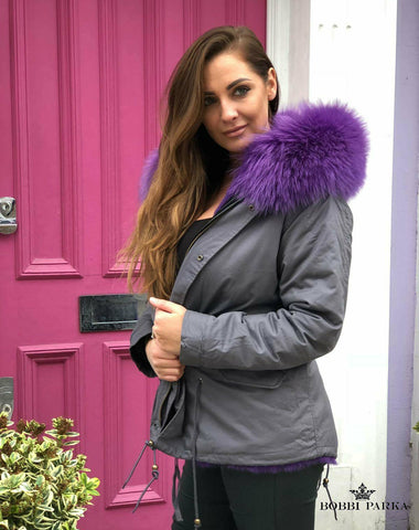 Ladies Fur Collar Grey Parka Jacket with Purple Rabbit Fur