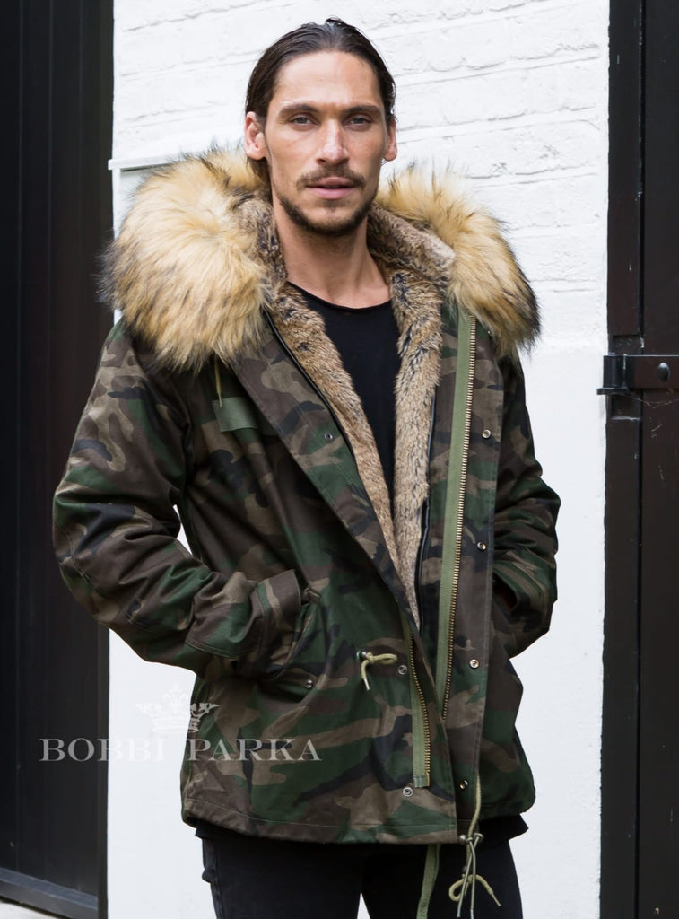 Mens Real Look Faux Fur Collar Parka Jacket Camo with Natural Faux Fur Lining