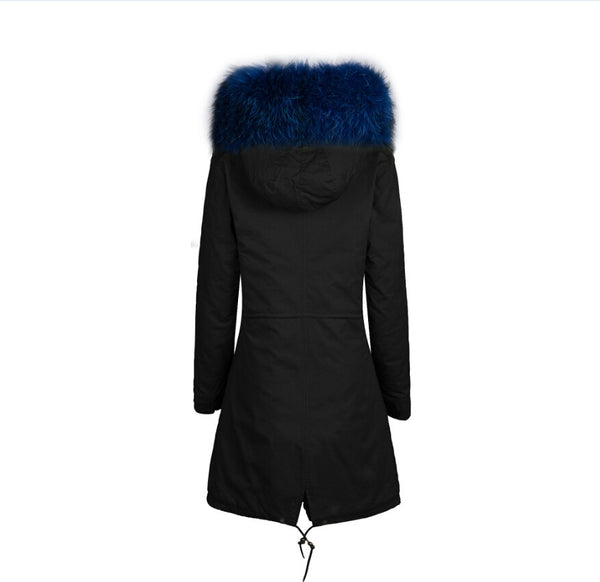 Raccoon Fur Collar Parka Jacket with Blue Fur 3/4 -  - 3