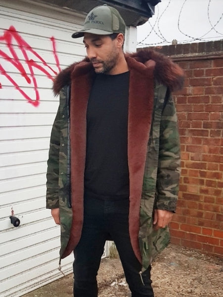 Mens Camo / Chocolate Brown Luxury Collar Parka Jacket 3/4