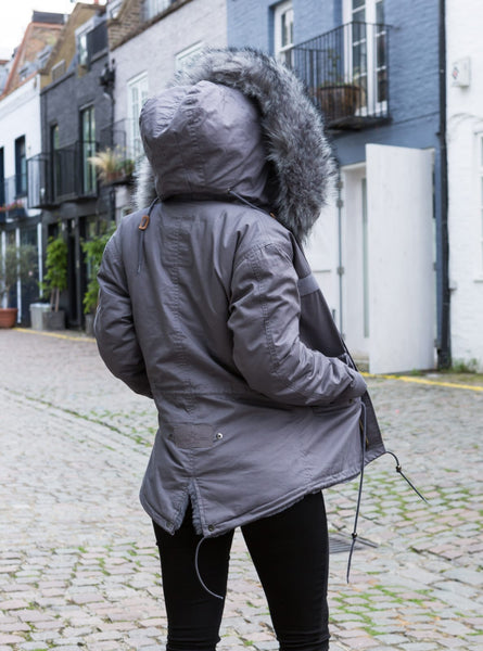 Ladies Real Look Faux Fur Grey with Grey Faux Fur Parka