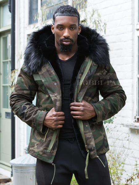 Mens Camo Luxury Parka Jacket with Black Collar