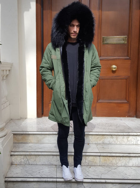 Mens Real Look Faux Fur Collar Parka Jacket with Black Faux Fur Lining 3/4