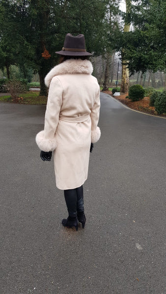 Ladies Wool-Cashmere Luxury Trim Coat