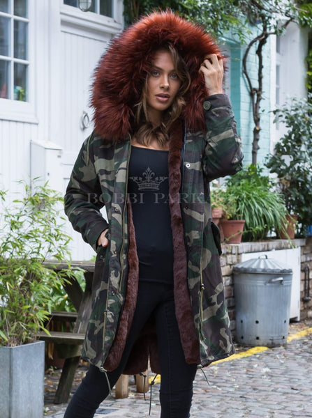 Ladies Real Look Faux Fur Collar Parka Jacket Camo with Chocolate Brown Faux Fur 3/4