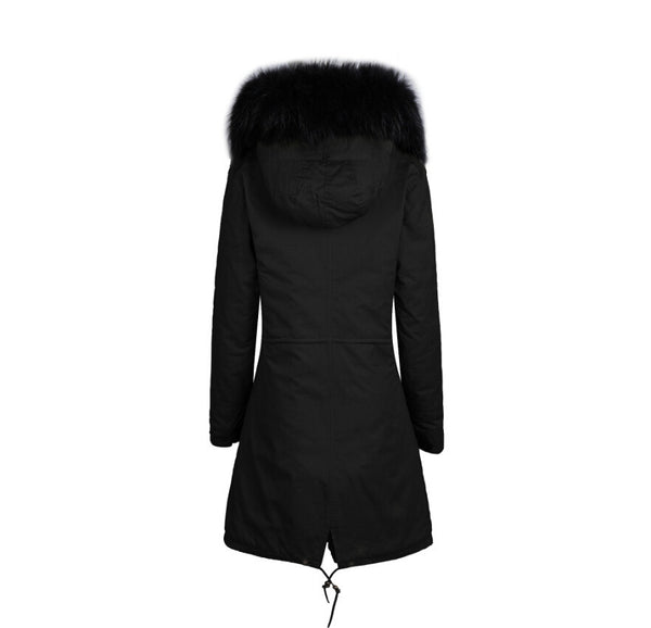Raccoon Fur Collar Parka Jacket with Black Fur 3/4 -  - 2